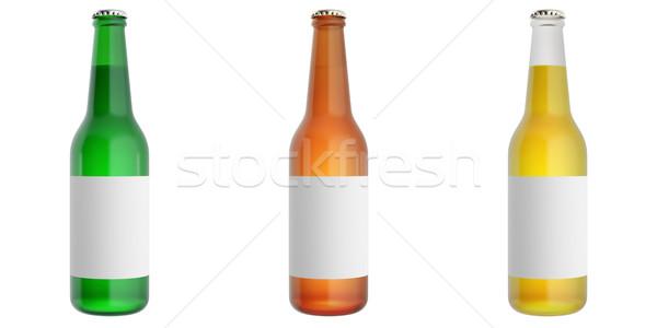 Ayarlamak bira şişeler etiket tok cam Stok fotoğraf © ZARost