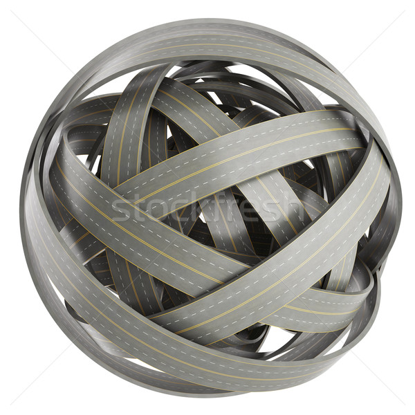 abstract sphere of tangled roads, isolated on white background. Stock photo © ZARost