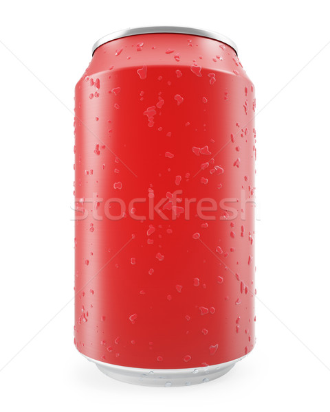 Red aluminum can with water drops isolated on white background. Stock photo © ZARost