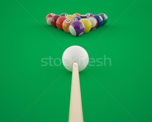 Billiard balls before hitting on a green billiard table.  Stock photo © ZARost