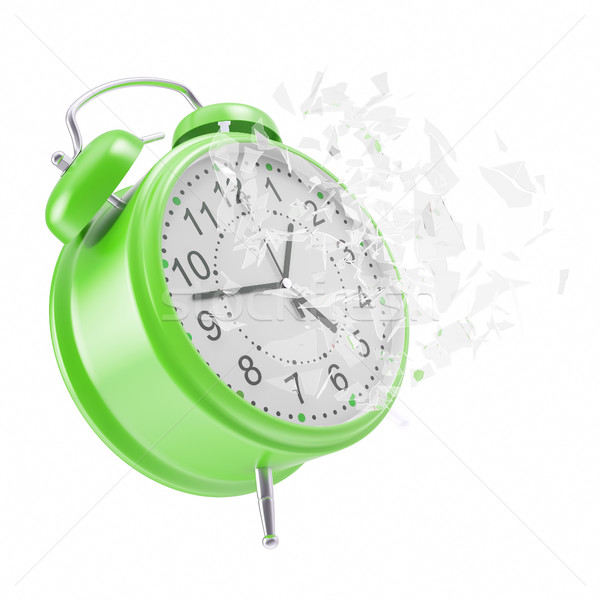 Stock photo: Soaring Clock alarm clock with broken glass shattered into small pieces.