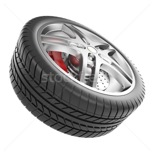 Spor araba tekerlek yalıtılmış beyaz 3d illustration Stok fotoğraf © ZARost
