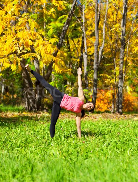 Yoga posent femme automne forêt nature Photo stock © zastavkin