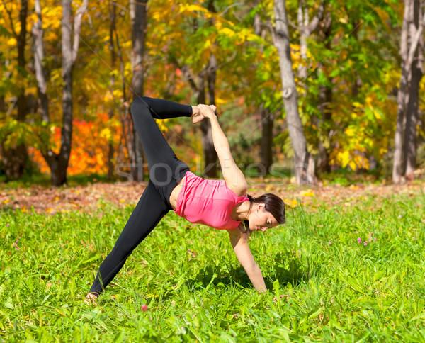 Yoga pose vrouw najaar bos natuur Stockfoto © zastavkin