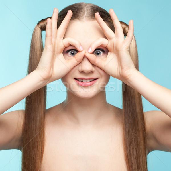 そばかすのある 少女 美しい 青 幸せ ストックフォト © zastavkin