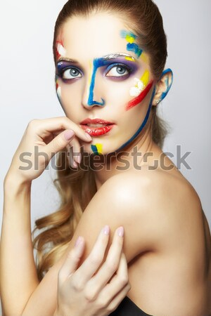 Donna moda piuma ciglia trucco luminoso Foto d'archivio © zastavkin
