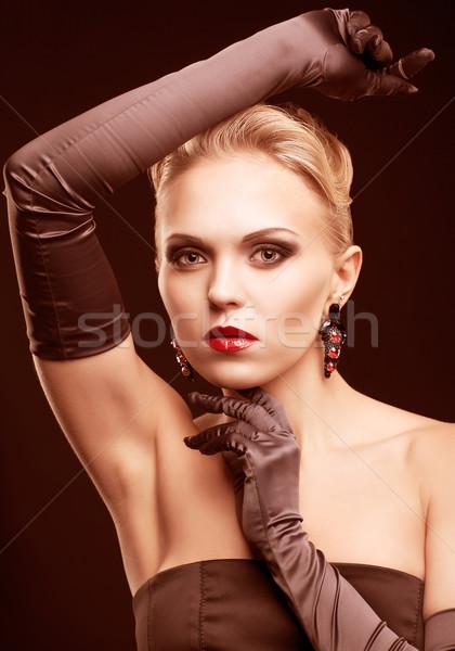 Sarışın kadın siyah elbise genç uzun eldiven karanlık Stok fotoğraf © zastavkin