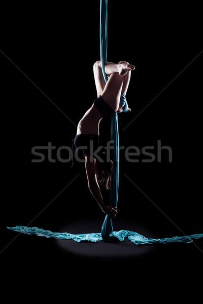 Fiatal nő tornász kék gimnasztikai szalag izolált Stock fotó © zastavkin