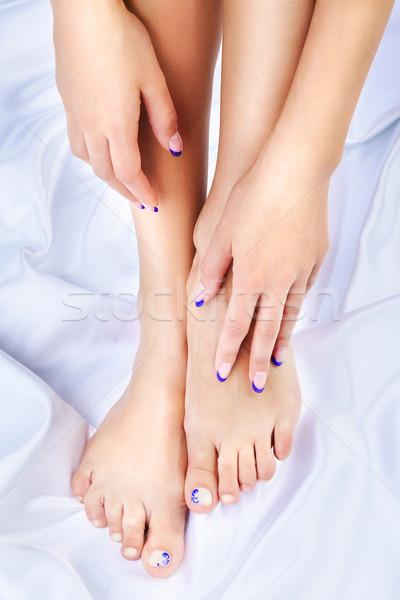Egészséges láb kezek testrész lövés gyönyörű Stock fotó © zastavkin
