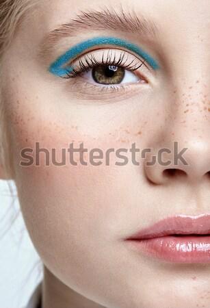Beautiful girl metade cara retrato belo Foto stock © zastavkin