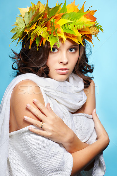 Menina outono grinalda retrato belo jovem Foto stock © zastavkin