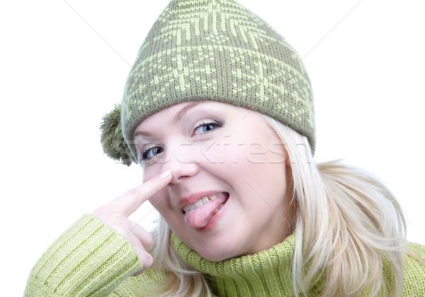 Fille chaud vêtements portrait belle Photo stock © zastavkin