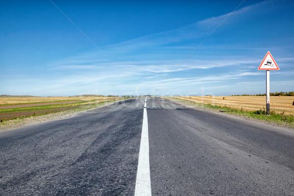 Weg landschap focus teken Blauw reizen Stockfoto © zastavkin