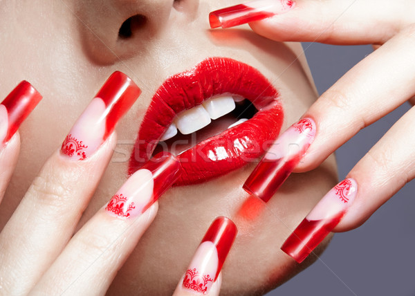 Stockfoto: Acryl · nagels · manicure · vingers · Rood · frans