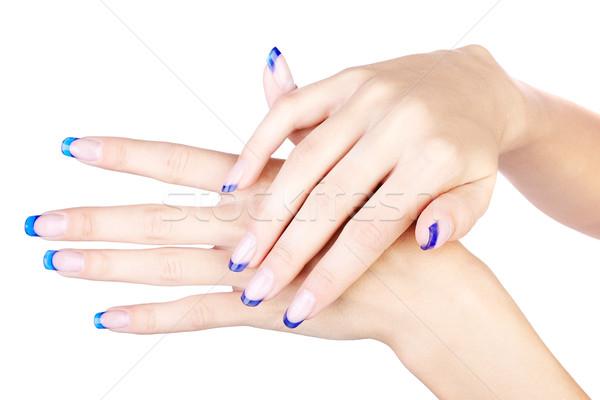 Stockfoto: Handen · Blauw · professionele · frans · nagels