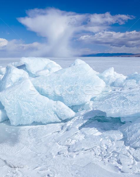 Tél jég tájkép tó égbolt kék Stock fotó © zastavkin