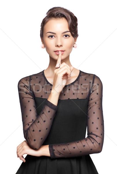 Retro woman  with finger on lips Stock photo © zastavkin