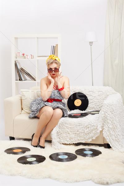 Stockfoto: Blonde · vrouw · portret · mooie · verwonderd · jonge