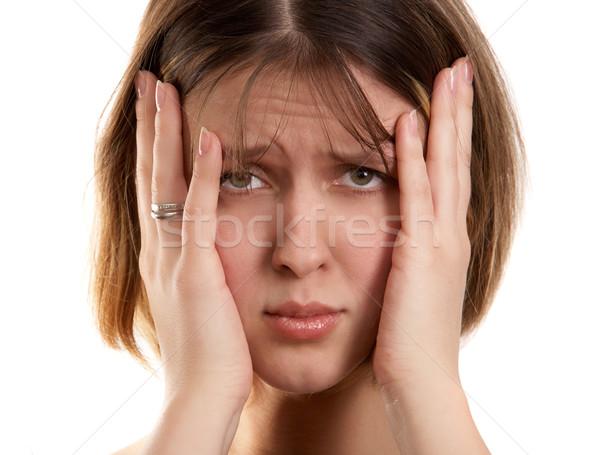 Nő fejfájás fiatal nő portré fekete személy Stock fotó © zastavkin