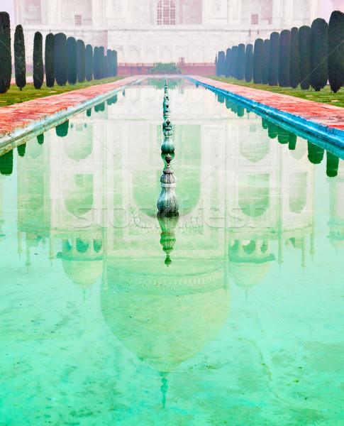 Taj Mahal tükröződés higgadt víz szöveg űr Stock fotó © zastavkin