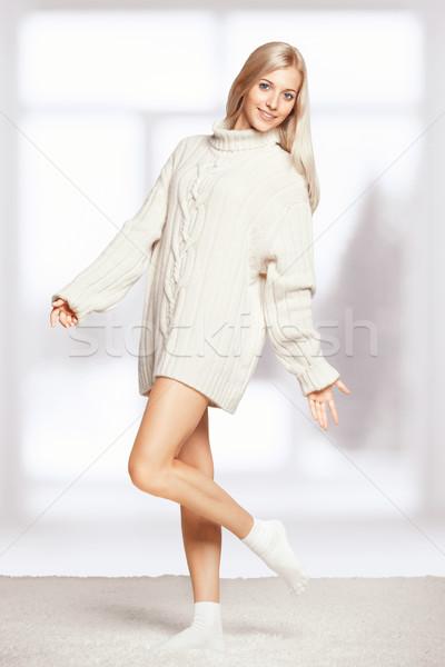 Blonde woman in cashmere sweater Stock photo © zastavkin