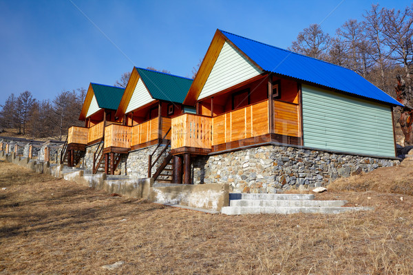 Fából készült kempingezés helyszín égbolt épület természet Stock fotó © zastavkin