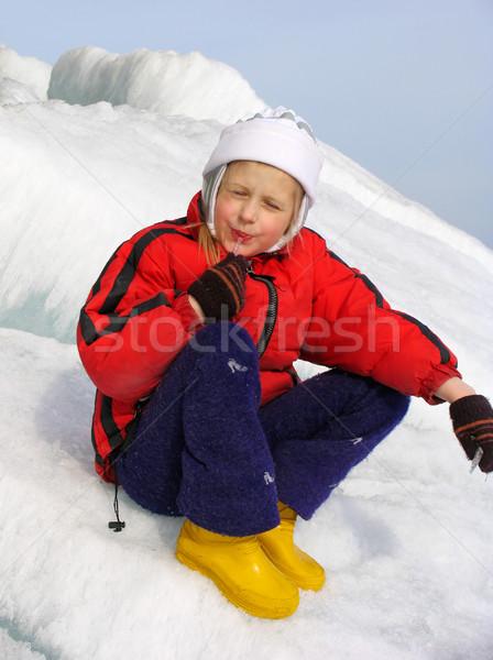 Young girl with icicle Stock photo © zastavkin