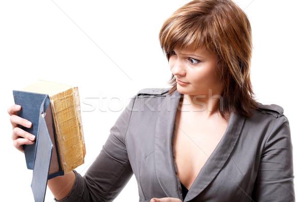 Menina livro jovem isolado branco mão Foto stock © zastavkin