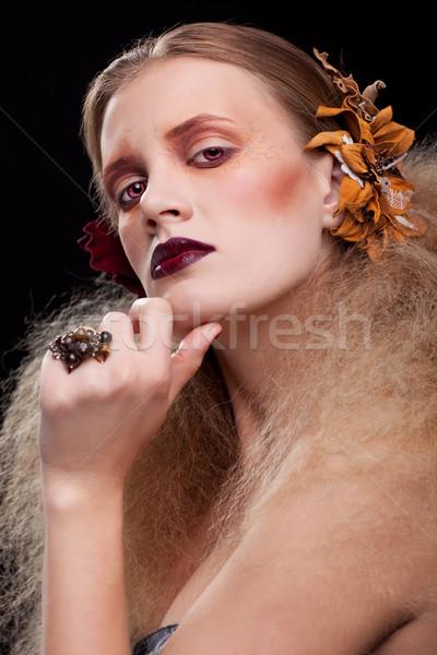 Halloween schoonheid vrouw make stijl meisje Stockfoto © zastavkin