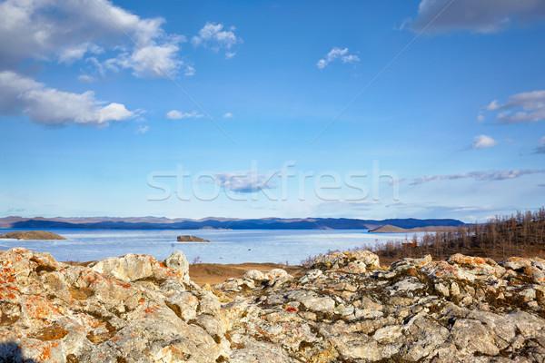 Lago sibéria cedo primavera tempo céu Foto stock © zastavkin