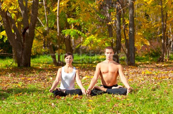yoga padmasana pose Stock photo © zastavkin