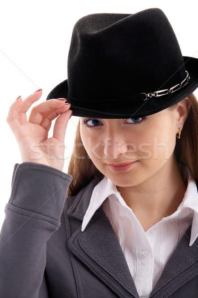 Menina preto seis retrato jovem feminino Foto stock © zastavkin