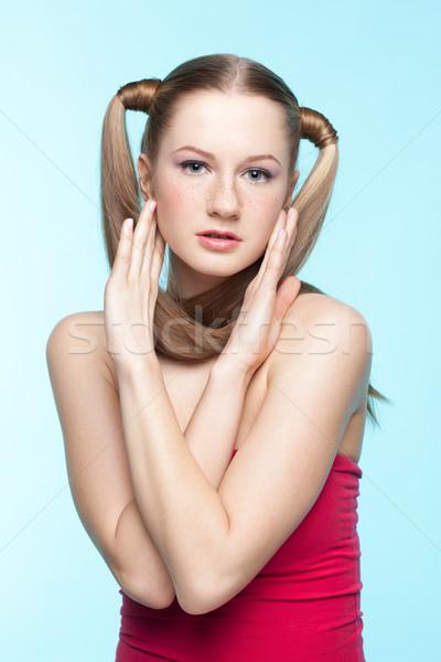 そばかすのある 少女 赤いドレス 美しい 青 ストックフォト © zastavkin