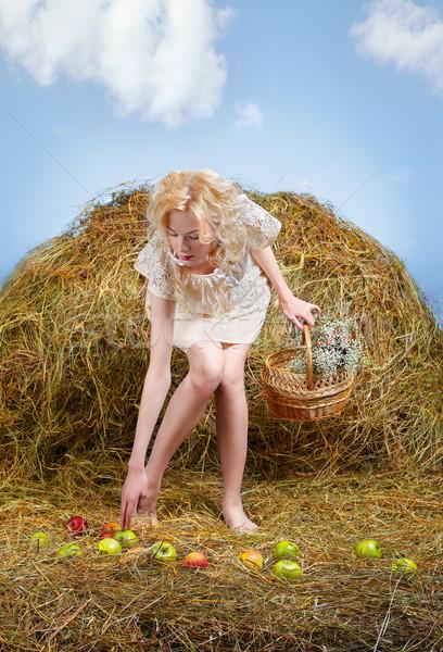 田舎娘 乾草 肖像 美しい ブロンド ポーズ ストックフォト © zastavkin