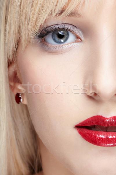 Mujer saludable piel primer plano mitad cara Foto stock © zastavkin