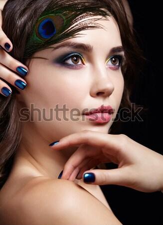 Belo mulher jovem preto retrato jovem morena Foto stock © zastavkin