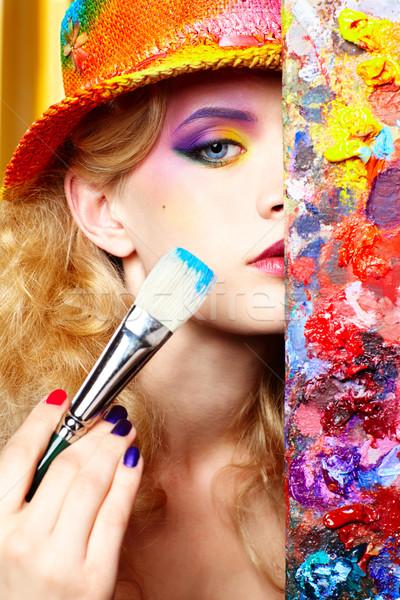 Artista mulher retrato bela mulher olhando Foto stock © zastavkin