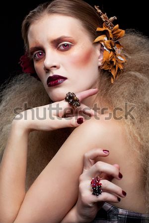 gorgeous woman in mask Stock photo © zastavkin