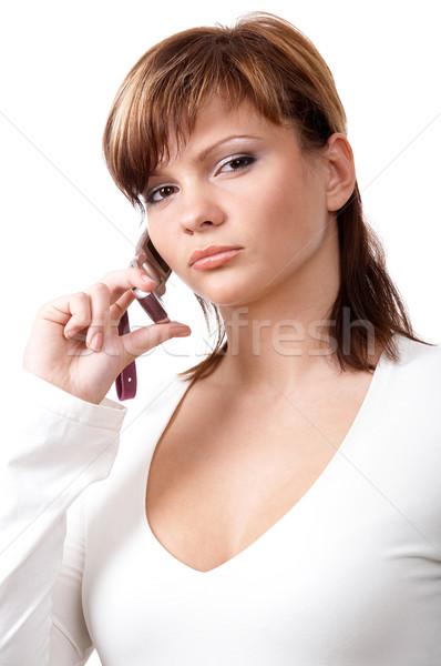 Menina telefone jovem telefone isolado Foto stock © zastavkin