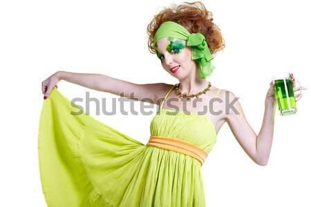Menina verde cerveja retrato belo modelo Foto stock © zastavkin