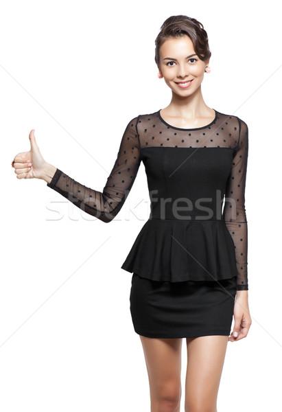 ストックフォト: 若い女性 · 親指 · アップ · 小さな · 幸せ · 笑顔の女性