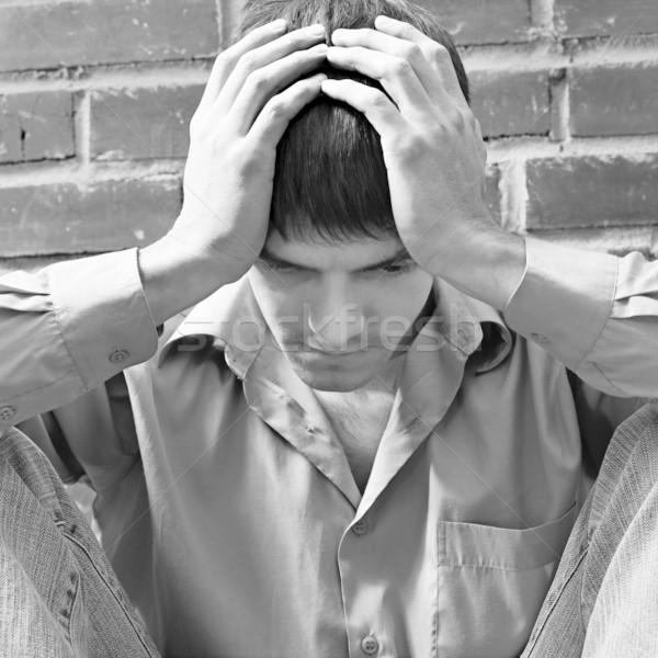 Kétségbeesés portré fiatal fickó depresszió ül Stock fotó © zastavkin