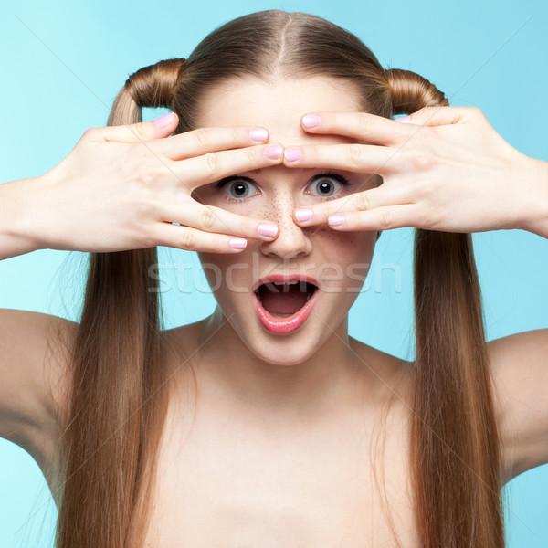 そばかすのある 少女 美しい 青 女性 ストックフォト © zastavkin