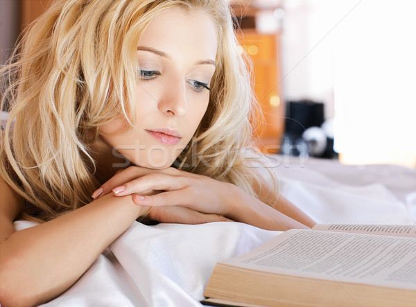 beautiful girl with book Stock photo © zastavkin