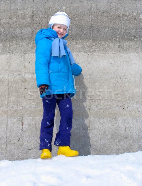 Girl near the wall Stock photo © zastavkin