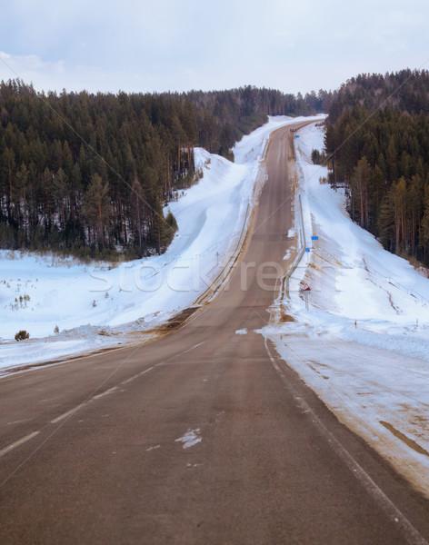 Inverno estrada neve espaço azul branco Foto stock © zastavkin