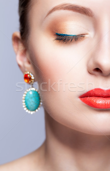 Half face portrait of young woman with closed eyes Stock photo © zastavkin