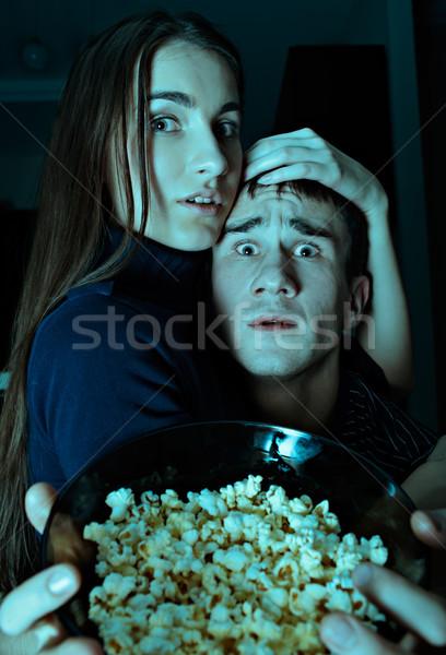 Ijesztő film fiatal pér néz tv diák Stock fotó © zastavkin