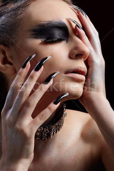 Gier meisje portret mooi meisje vogel Stockfoto © zastavkin