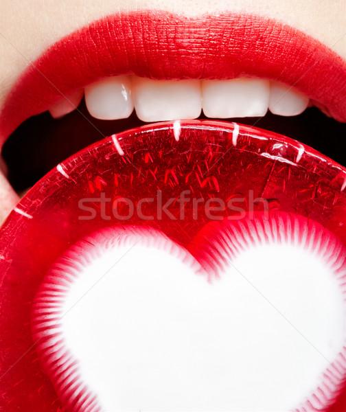 Blond maat model gezicht portret Stockfoto © zastavkin